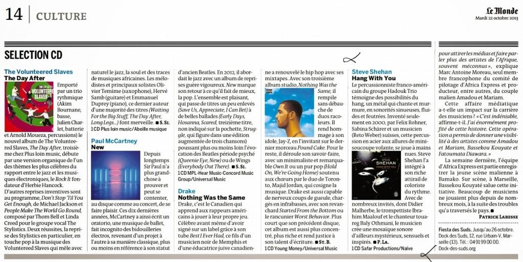 Sélection CD du Monde du 22/10/13
