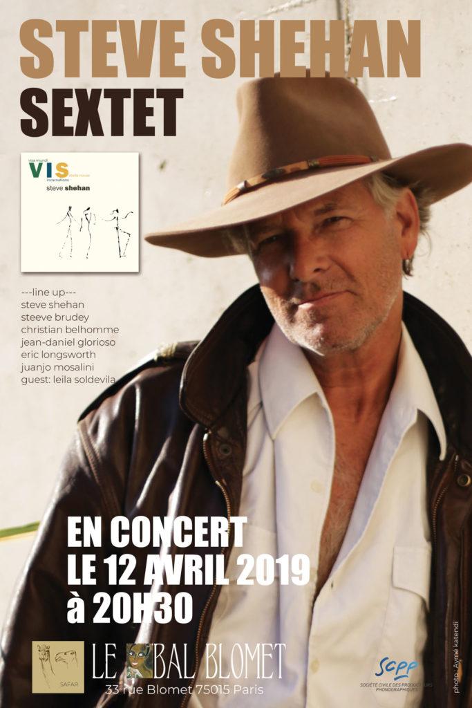 affiche concert Steve Shehan Sextet - Bal Blomet 12/4/2019